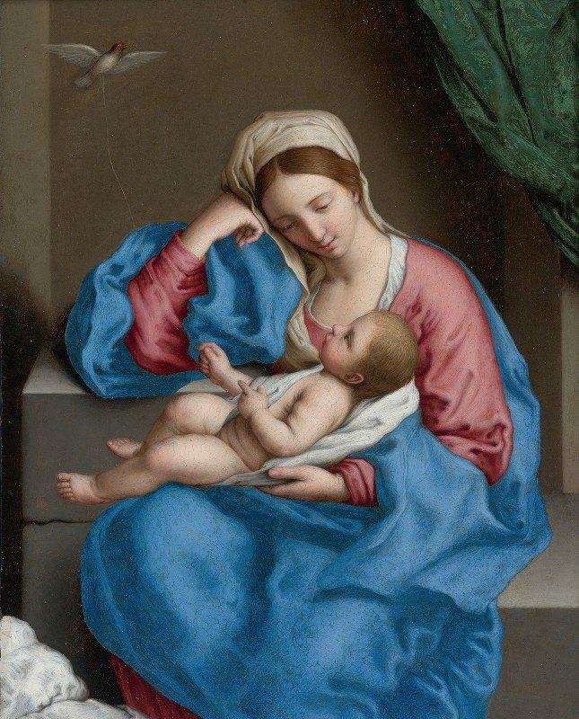Giovanni Battista Salvi da Sassoferrato - Madonna With The Infant Christ Child Holding A Goldfinch On A String