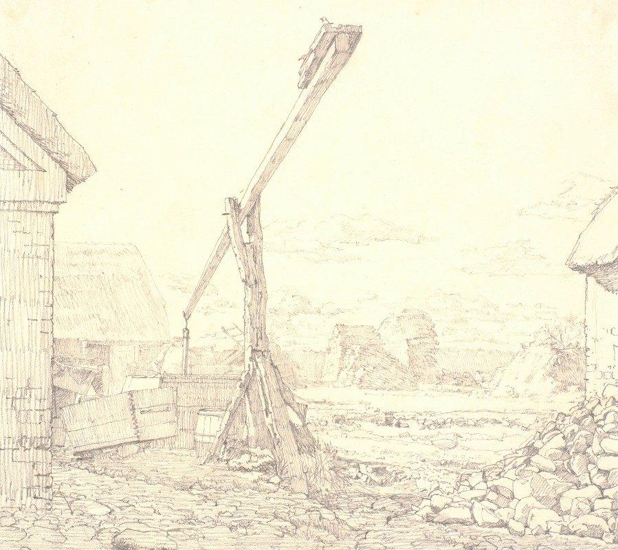 Christen Købke - Brøndvippe i en bondegård, solskin
