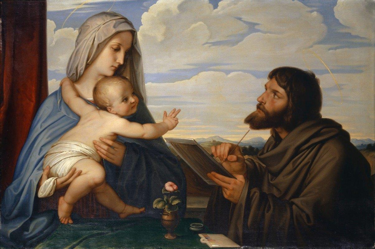 Edward Von Steinle - Saint Luke Painting the Virgin