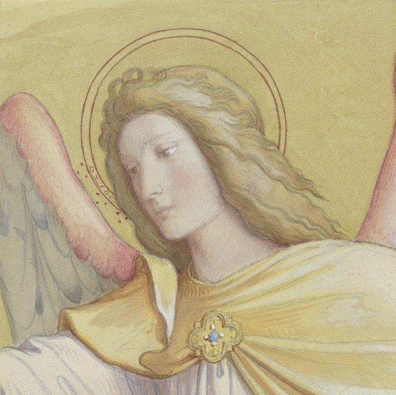 Edward Von Steinle - Bust of an angel