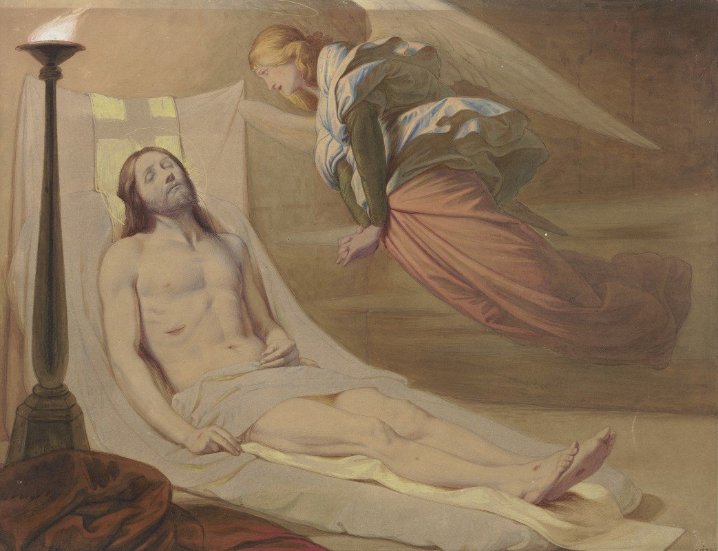 Edward Von Steinle - Christ in the grave, a mourning angel hovering over him