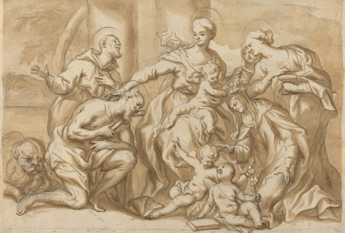 Domenico Piola - Madonna Surrounded by Saints