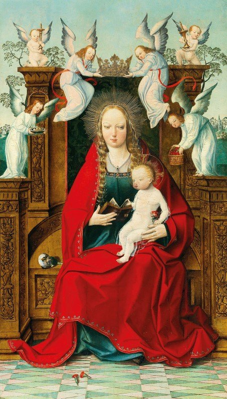 Early Netherlandish School - The Madonna and Child enthroned, crowned by angels