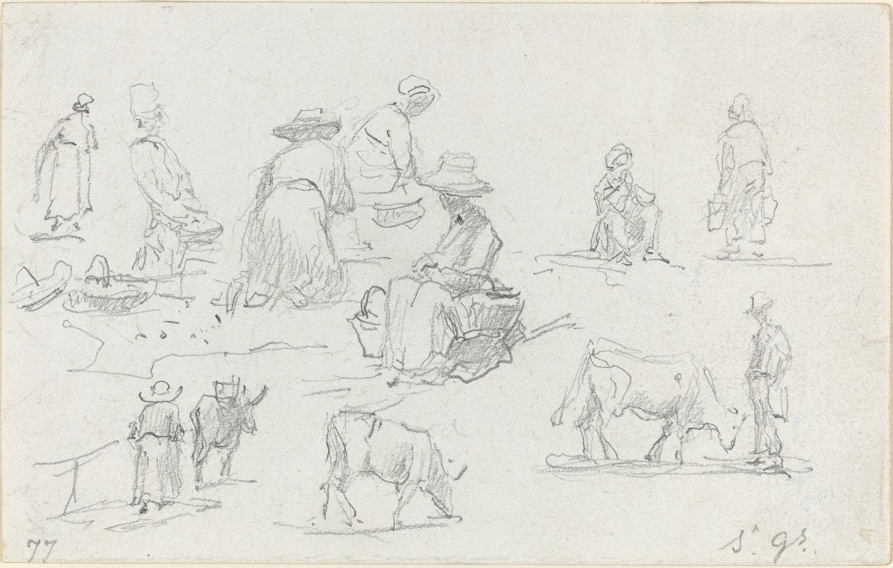 Eugène Boudin - Peasants and Cows (recto)