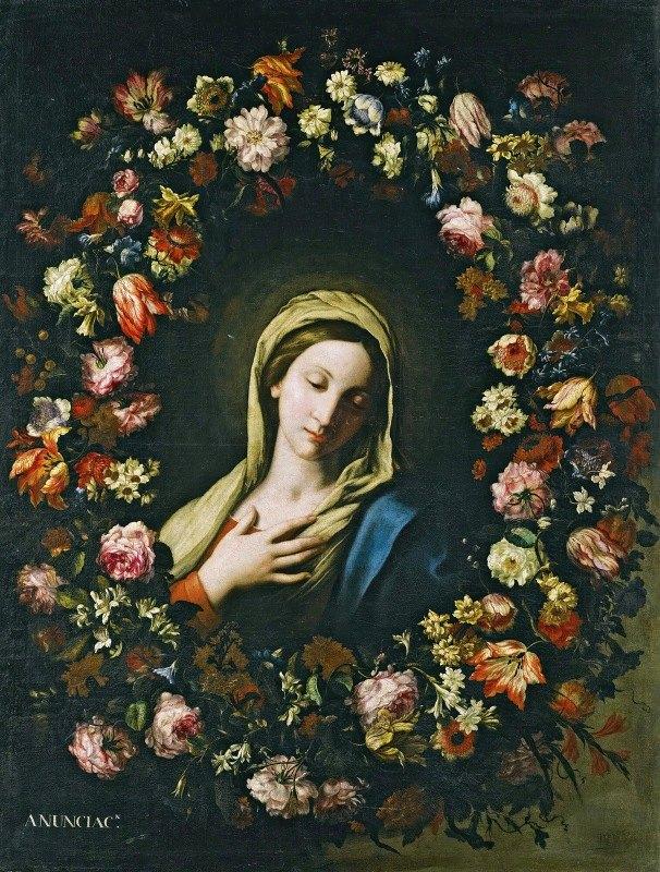 Francesco Caldei - A Flower Garland Surrounding The Virgin Annunciate