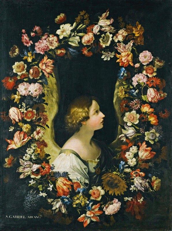 Francesco Caldei - A Flower Garland Surrounding The Angel Gabriel