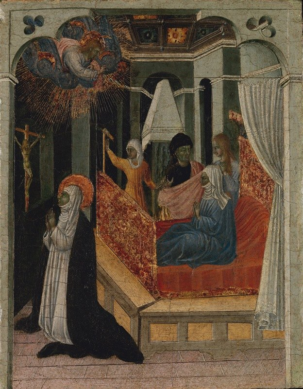 Giovanni di Paolo - Saint Catherine of Siena Beseeching Christ to Resuscitate Her Mother