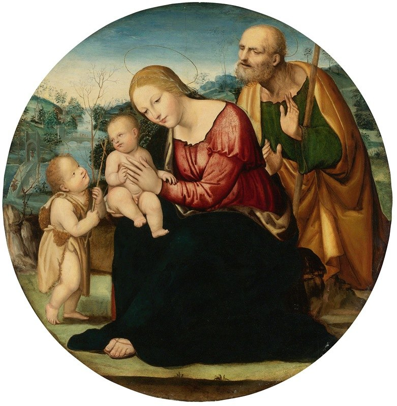 Sodoma - The Holy Family With The Infant Baptist In A Landscape