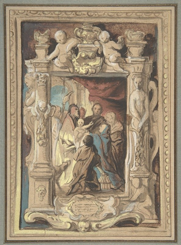 Jacob Jordaens - The Presentation in the Temple, with a Design for a Sculpted Frame