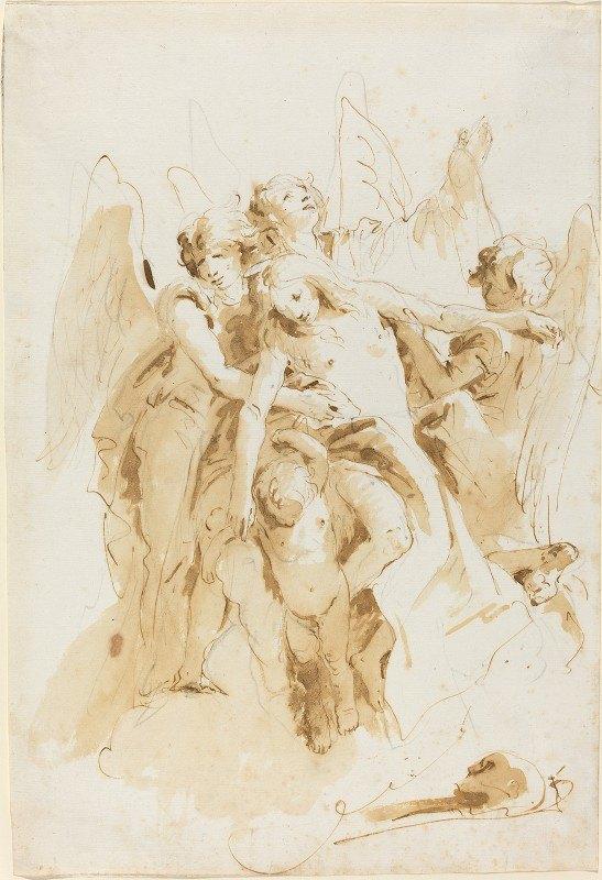 Giovanni Battista Tiepolo - Saint Mary Magdalene Lifted by Angels