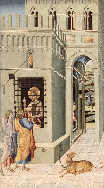 Giovanni di Paolo - Saint John the Baptist in Prison Visited by Two Disciples