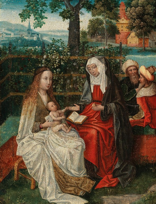 School Of Antwerp - The Virgin and Child with Saint Anne in an enclosed garden, with Joachim and Joseph beyond