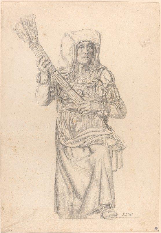 Johann Caspar Weidenmann - Italian Peasant Woman with a Broom