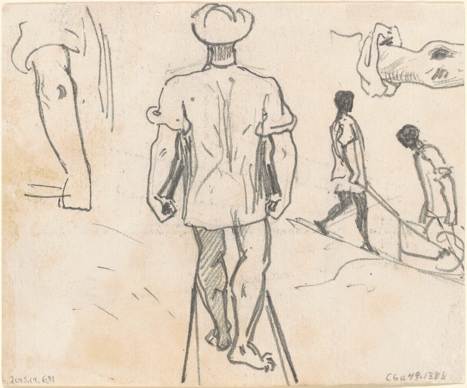 John Singer Sargent - Studies of Peasants with Wheelbarrows (verso)