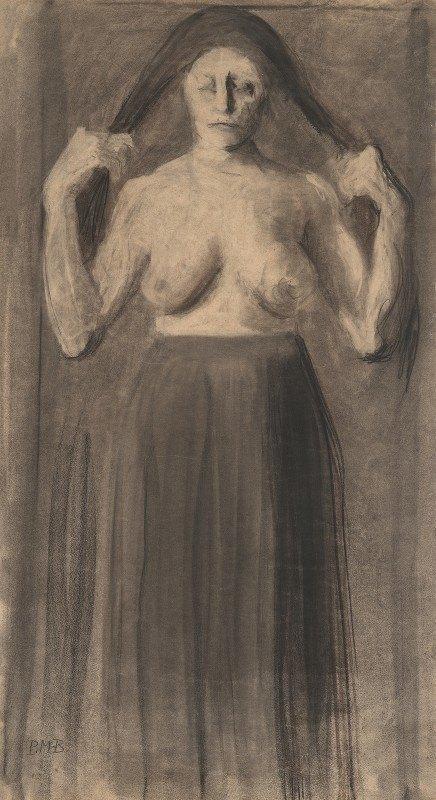 Paula Modersohn-Becker - Half-Nude Woman Holding Her Hair Apart