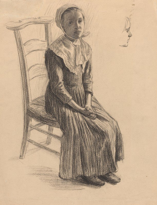 Swiss 19th Century - Seated Girl in Peasant Costume