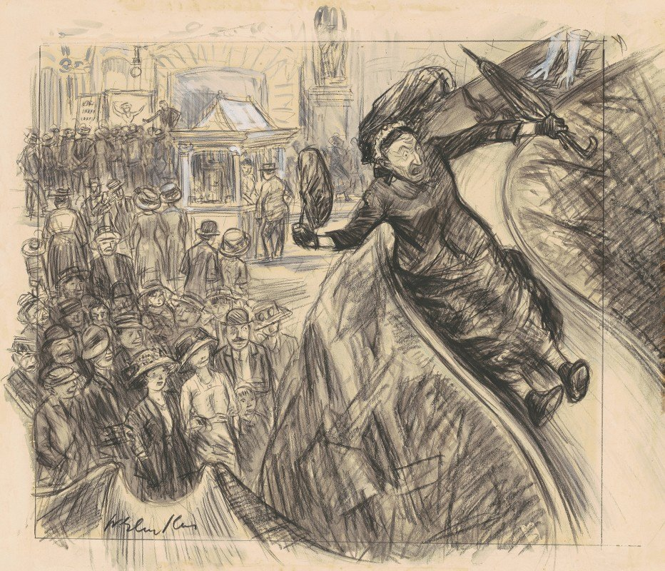 William James Glackens - I Went Down that There Slide Faster than the Empire State Express
