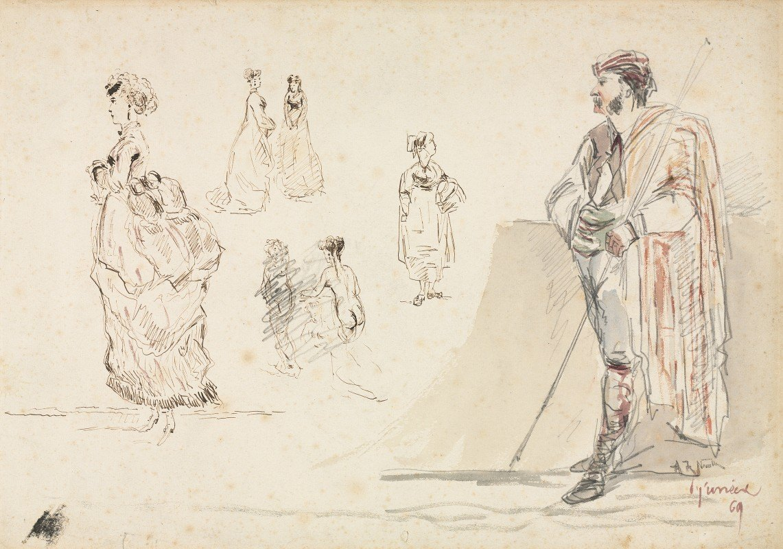 Alphonse Marie De Neuville - Sketches of Figures