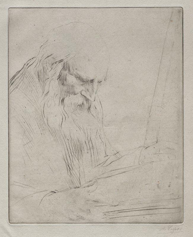 Alphonse Legros - Study of a Man Reading