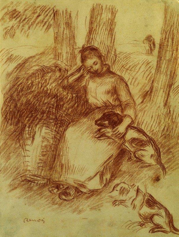 Pierre-Auguste Renoir - Peasant Girl with Dog