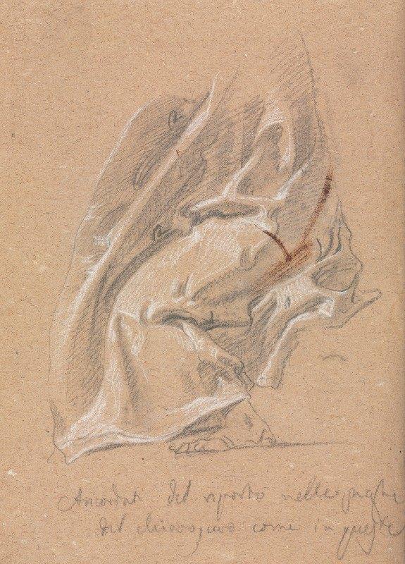 Francesco Lorenzi - Drapery study with foot and inscription
