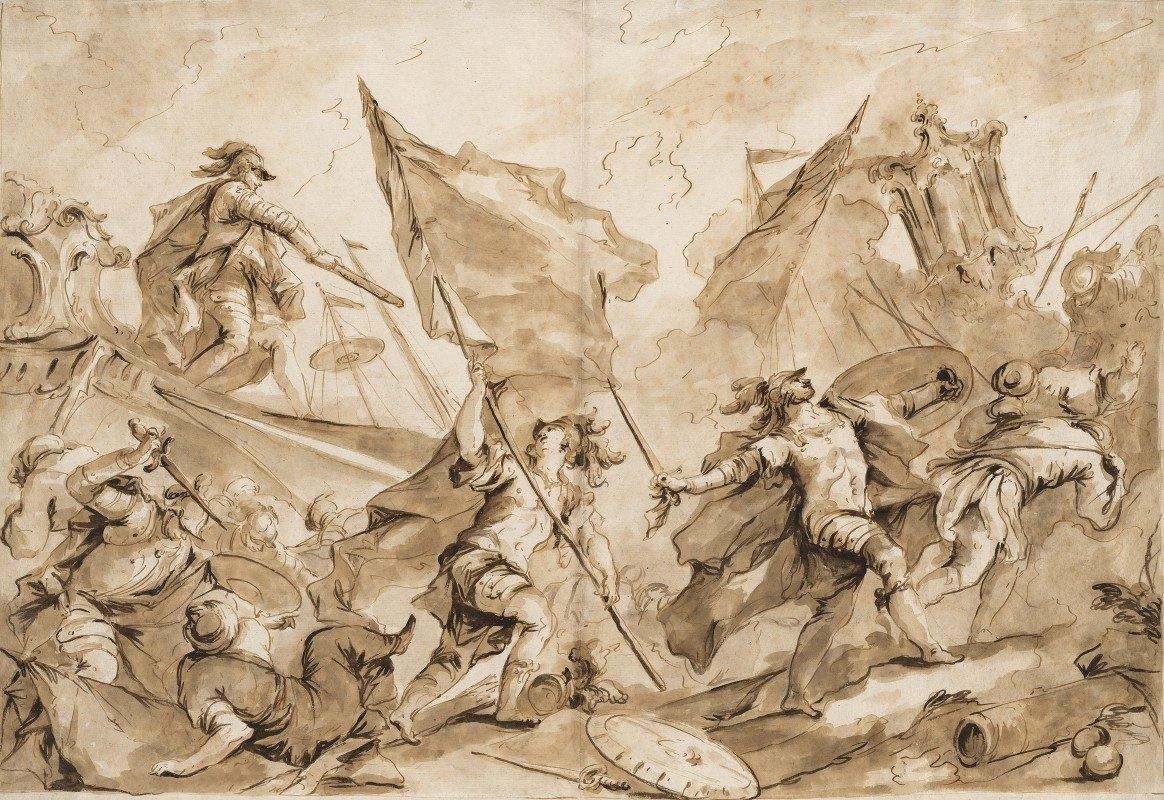 Giovanni Antonio Guardi - Jacopo Marcello Directing the Assault of Gallipoli