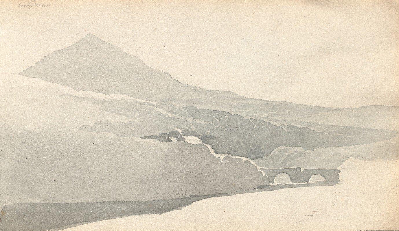"""Samuel Prout - Sketchbook: """"Mountainous Landscape with Bridge"""""""