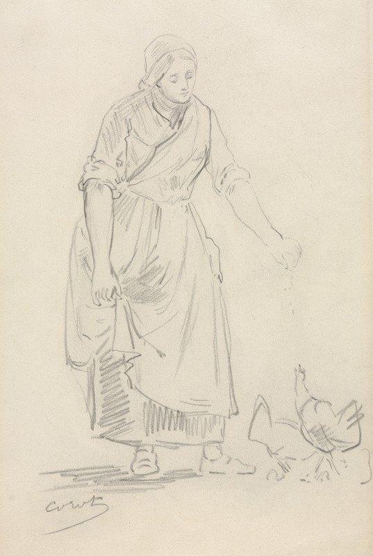 Jean-Baptiste-Camille Corot - Peasant Girl Feeding Chickens