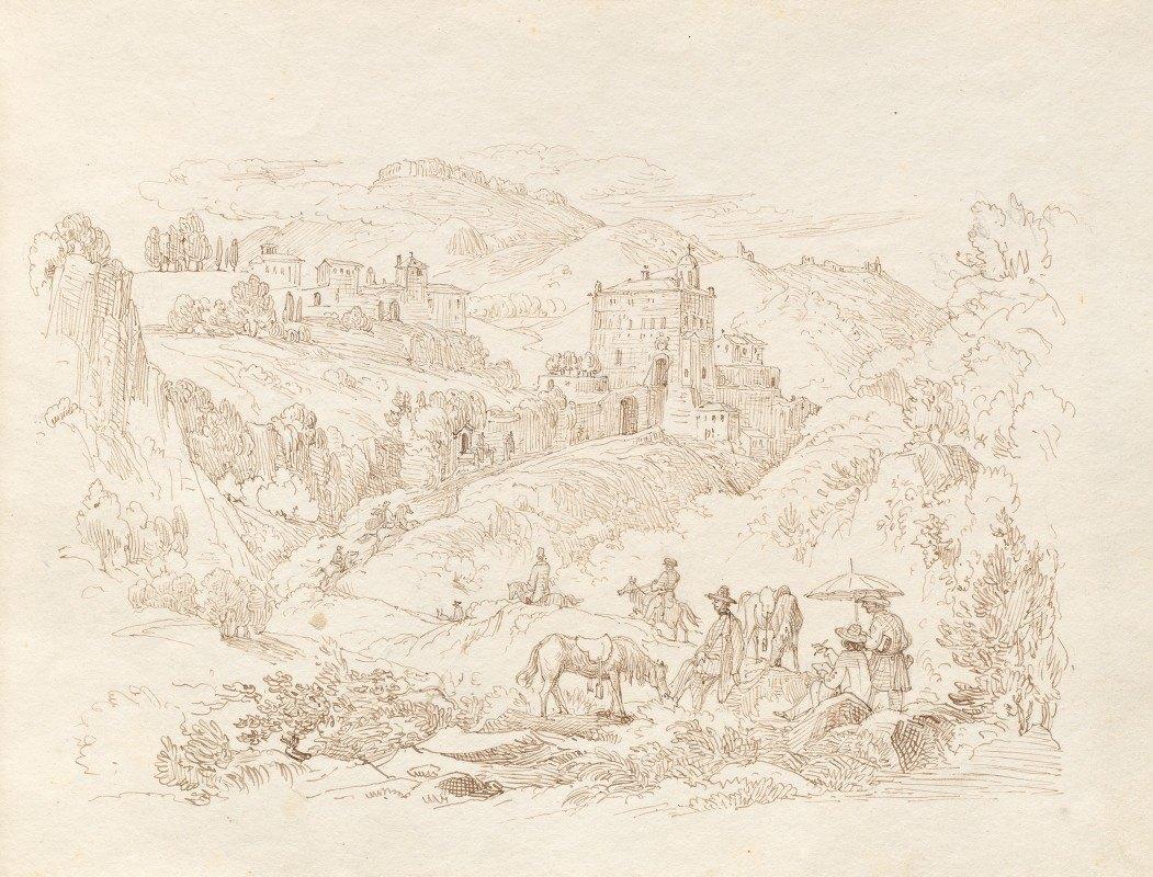 Franz Johann Heinrich Nadorp - Album with Views of Rome and Surroundings, Landscape Studies, page 43a: Roman Landscape