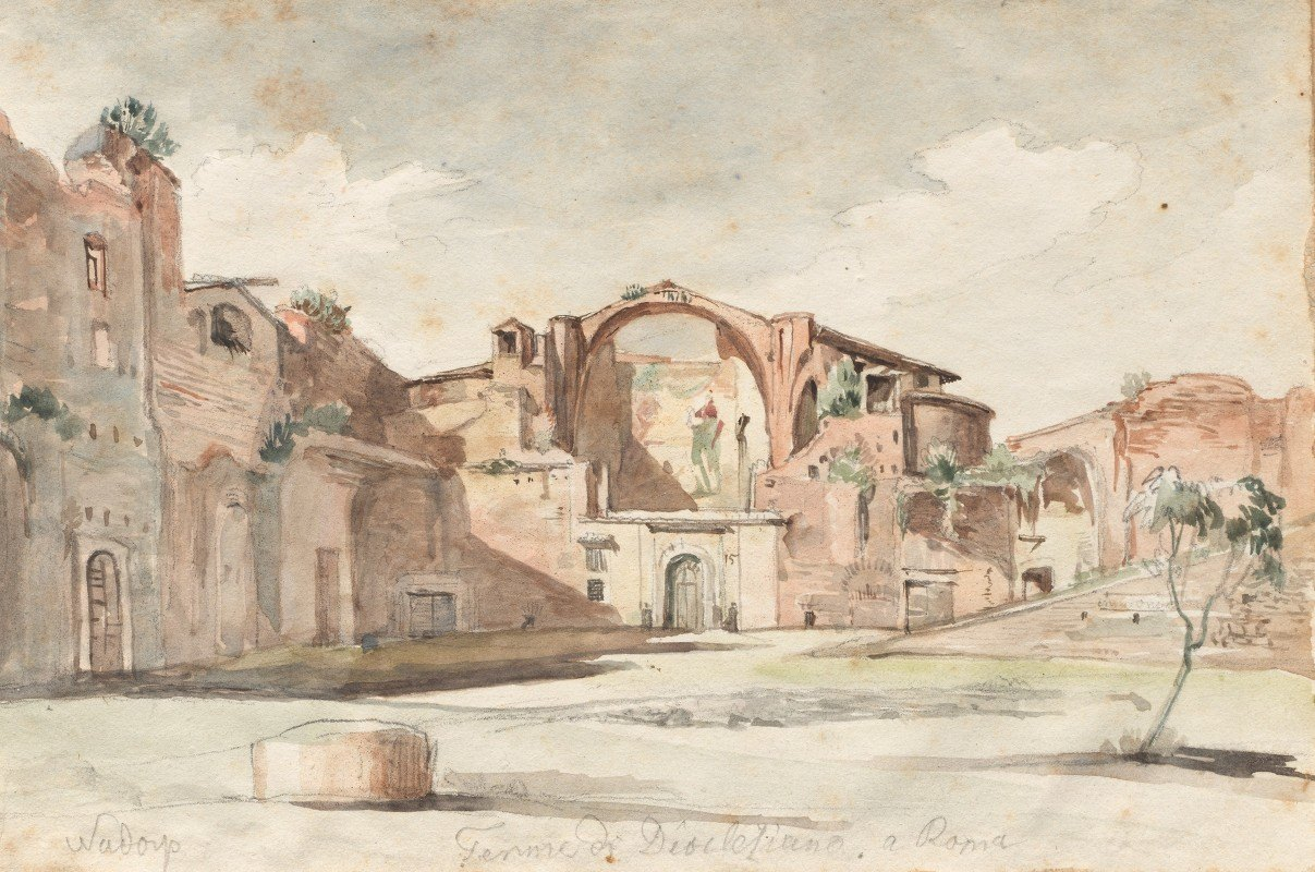 """Franz Johann Heinrich Nadorp - Album with Views of Rome and Surroundings, Landscape Studies, page 22a: """"Terme di Diocleziano, Rome"""""""