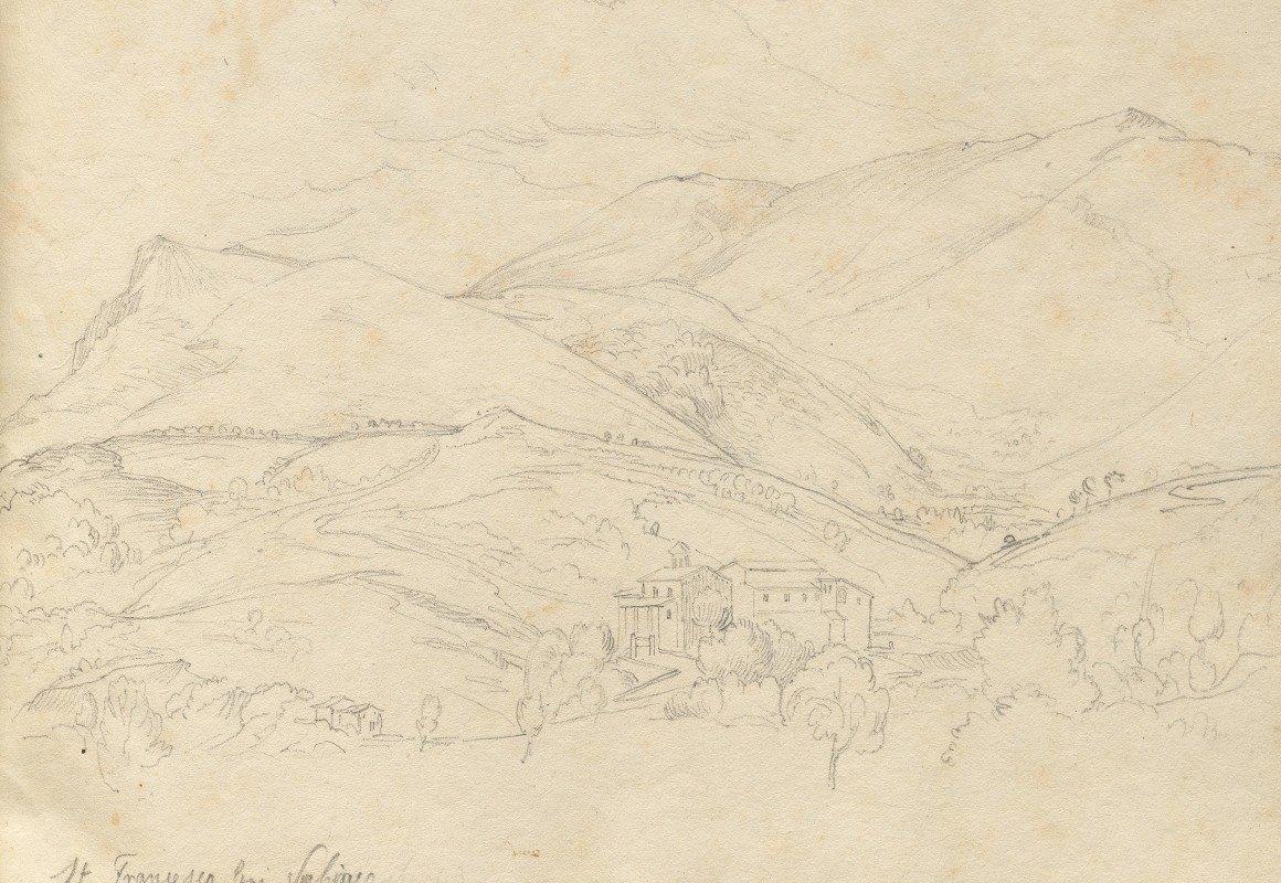 """Franz Johann Heinrich Nadorp - Album with Views of Rome and Surroundings, Landscape Studies, page 34a: """"St. Francesco"""""""