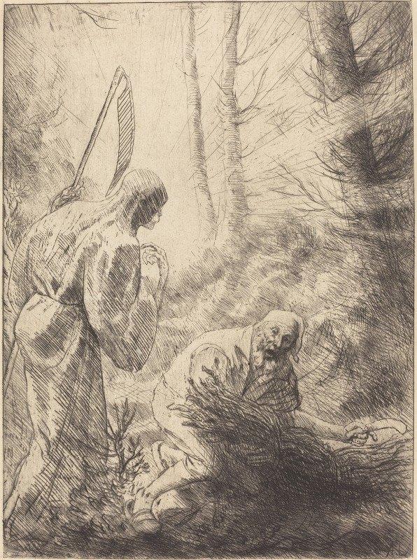 Alphonse Legros - Death and the Woodcutter, 2nd plate (La Mort de le bucheron)