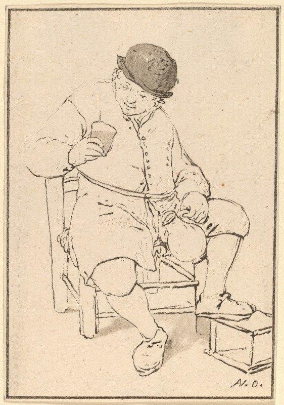 Cornelis Ploos van Amstel - Seated Peasant with Jug