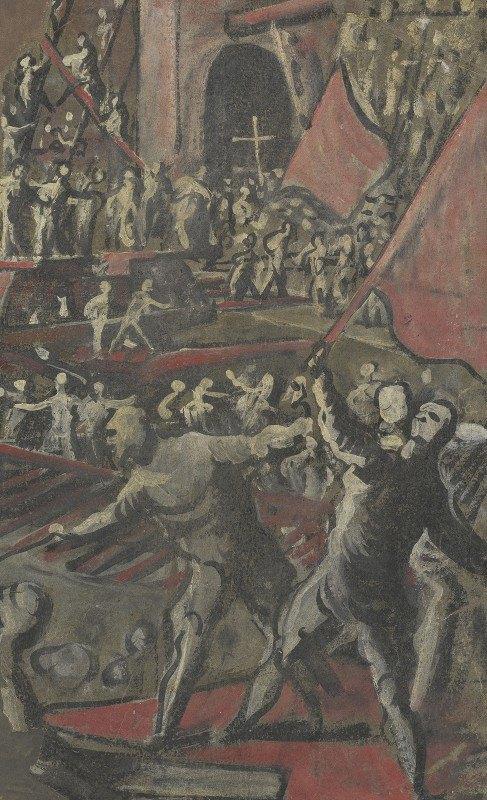 Domenico Tintoretto - Venetian Soldiers Attacking Constantinople (recto)