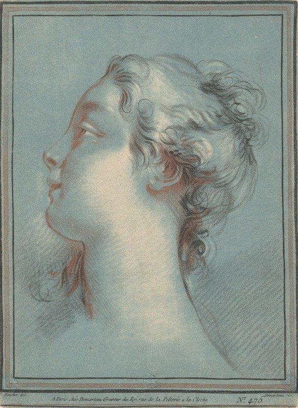 Gilles Demarteau the Elder - Head of a Young Woman Facing Left