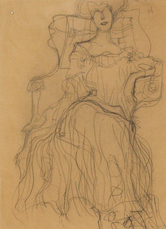 Gustav Klimt - Sitzend von vorne