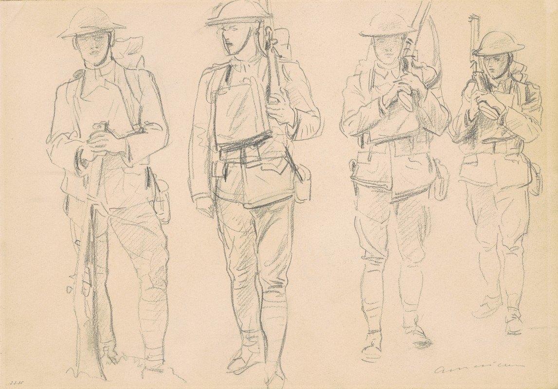 John Singer Sargent - Studies for 'Entering the War' (recto)