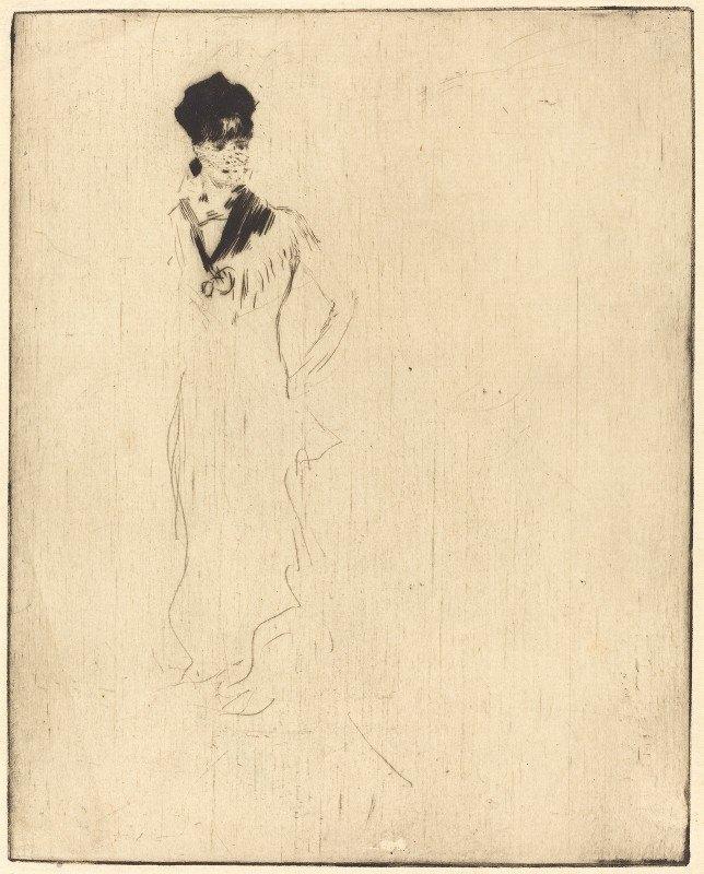 Norbert Goeneutte - Sketch of a Young Lady in Violet (Esquisse de jeune femme a la violette)