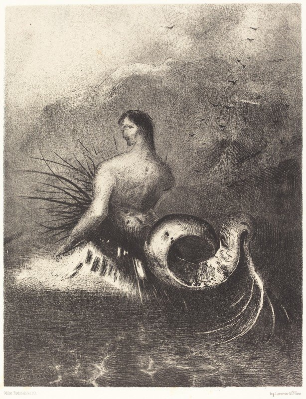 Odilon Redon - La sirene sortit des flots vetue de dards (The Siren clothed in barbs, emerged from the waves