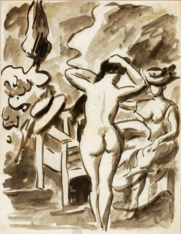 Carl Newman - Two Female Figures in Garden