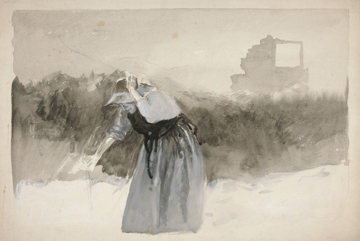 Edwin Austin Abbey - Study of a woman in bonnet, leaning over