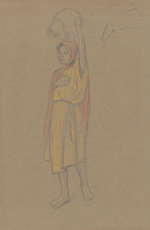 Ferdinand Hart Nibbrig - Lopende Algerijnse vrouw met kruik op het hoofd