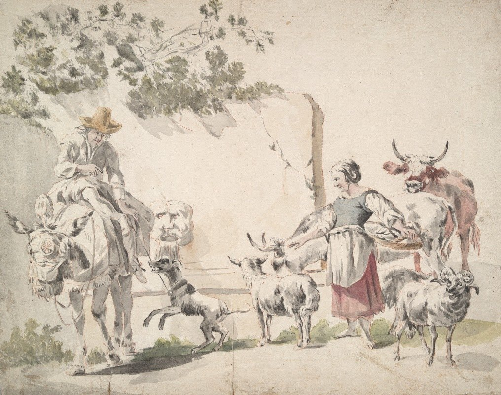 Nicolaes Pietersz. Berchem - Peasants Going toMarket
