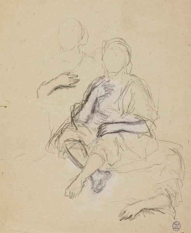 Narcisse-Virgile Diaz de La Peña - Deux personnages drapés assis de face et étude de bras