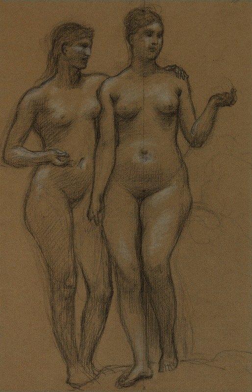 Pierre Puvis de Chavannes - Deux femmes nues debout, de face