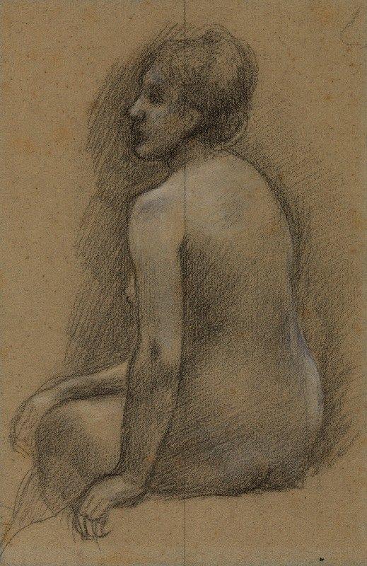 Pierre Puvis de Chavannes - Femme nue assise de dos