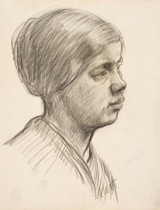 Alfred William Finch - Tytön pää, puoliprofiilissa oikealle
