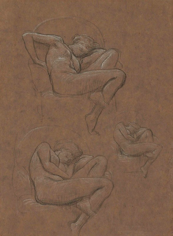 Frederic Leighton - Three studies for 'Flaming June'