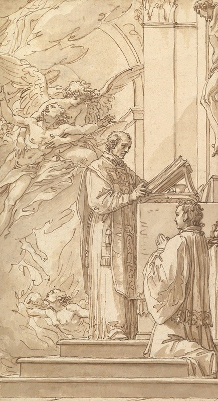 Giuseppe Cades - Blessed Francis Venimbeni Celebrating Mass for souls in Purgatory