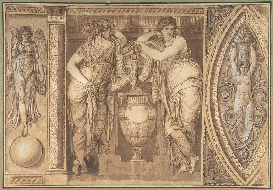 Giuseppe Cades - Design for a Frieze with Two Women Flanking an Urn